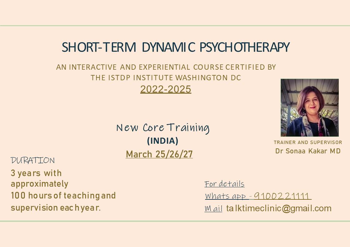 ISTDP core training with Psychiatrist and psychotherapist at Hyderabad IndiaDr. Sonaa Kakar
